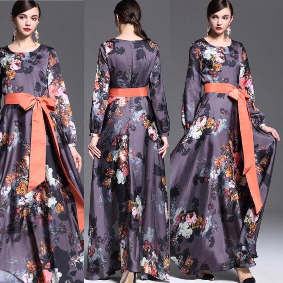 $84.99 http://m.romwe.com/Multicolor-Round-Neck-Long-Sleeve-Tie-Waist-Print-Dress-p-136134-cat-724.html