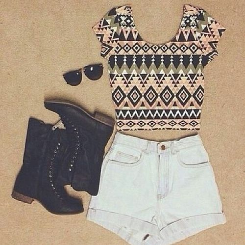 Crop Top White High Waisted Shorts Black Boot Sunglasses
