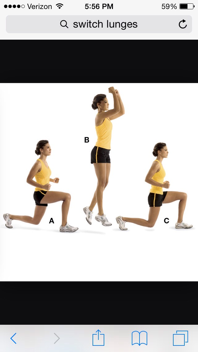 Then you're going to do the switch step lunges. You want to do 20 each leg to really get your legs worked out.