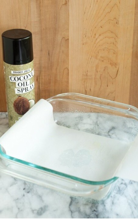 1. Preheat oven to 350 F  2. Line the baking dish with parchment paper