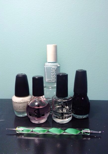 """Products Used:  Base Coat: Beauty Secrets """"Base Coat"""" White: L.A. Colors """"White"""" Blue: Essie """"Mint Candy Apple"""" Black: Sinful Colors """"Black On Black"""" Top Coat: Seche Vite """"Fast Drying Top Coat""""  Dotting Tool: www.amazon.com (2-ways-Acrylic-Design-Dotting-Painting)"""