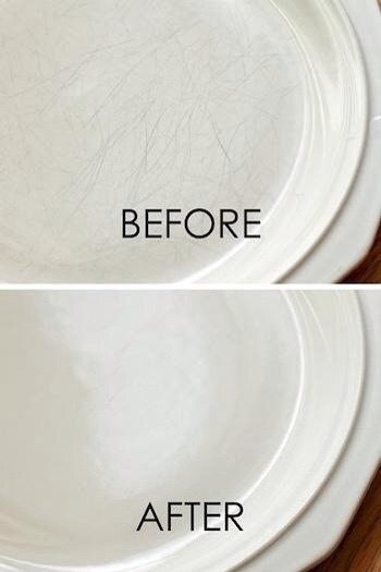 If your light colored plates have scrapes on them, you can use a mild abrasive cleanser to restore them to new.