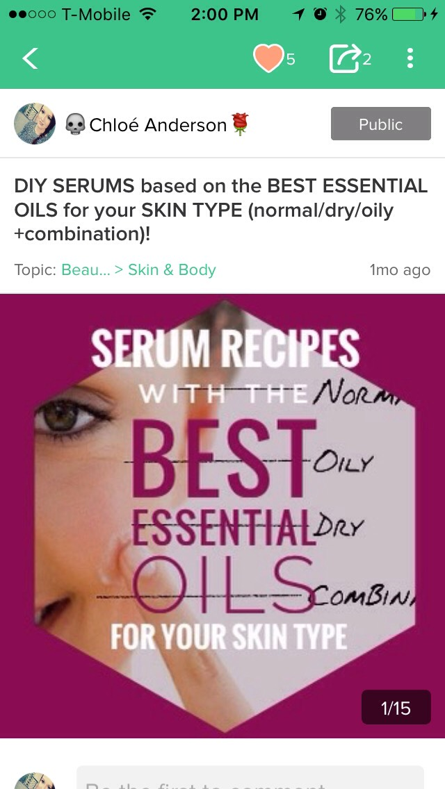 Ifyou want to add essential oils butyou're havinga bit oftrouble choosing one to use,checkout my tipto find out whichessential oilis bestwith your skin type!