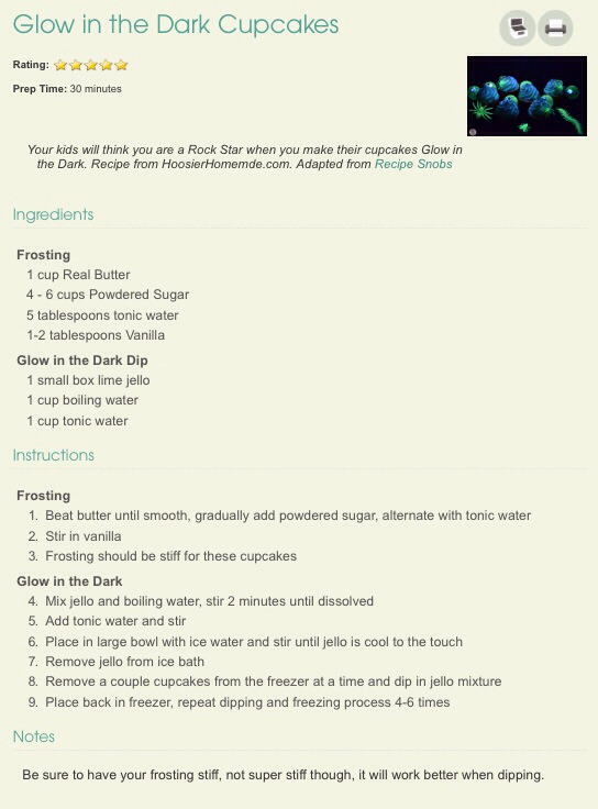 The frosting recipe and more instructions on the glow in the dark dip! 💚💚👍