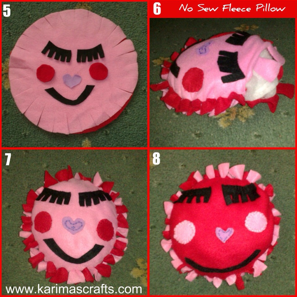 Stuff the heart with fiberfill. Tie the remaining fringes. Brush off any chalk that still shows. Ink lines should disappear according to the package directions.