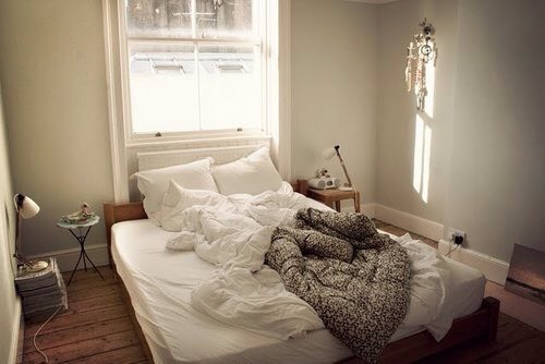 Step 2: get into bed. Get everything you need to get done around the house as soon as you can. Then crawl under the covers and get comfy!