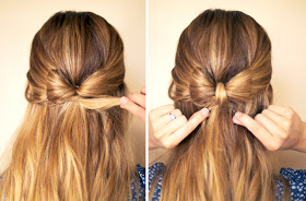6. Pick up the remaining ends of the ponytail and wrap them up and around the elastic to hide it. Secure it with bobby pins underneath.