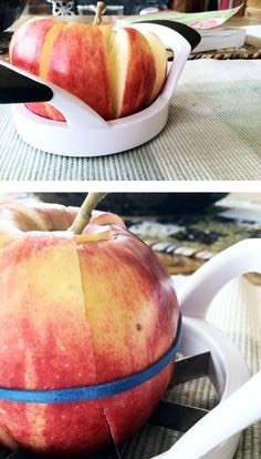 Put a rubber band around a Cut Apple to keep the pieces together and you won't have brown icky pieces at lunch time!