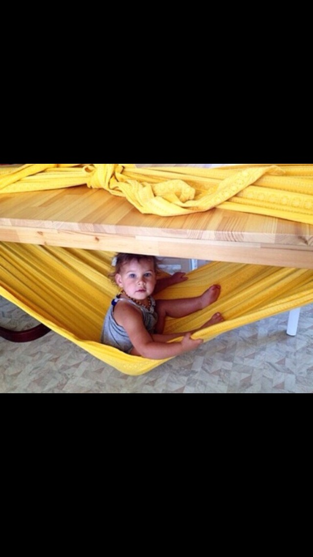 5.) Make a fun hammock with the sheets, they will never get up and out of it