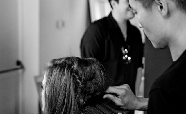 Texturize  Tran sprayed Oribe's Dry Texturizing Spray ($42) onto Deutch's roots and did some light backcombing.