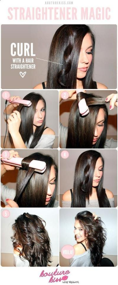 7. Switch things up by using your straightener to curl your hair.