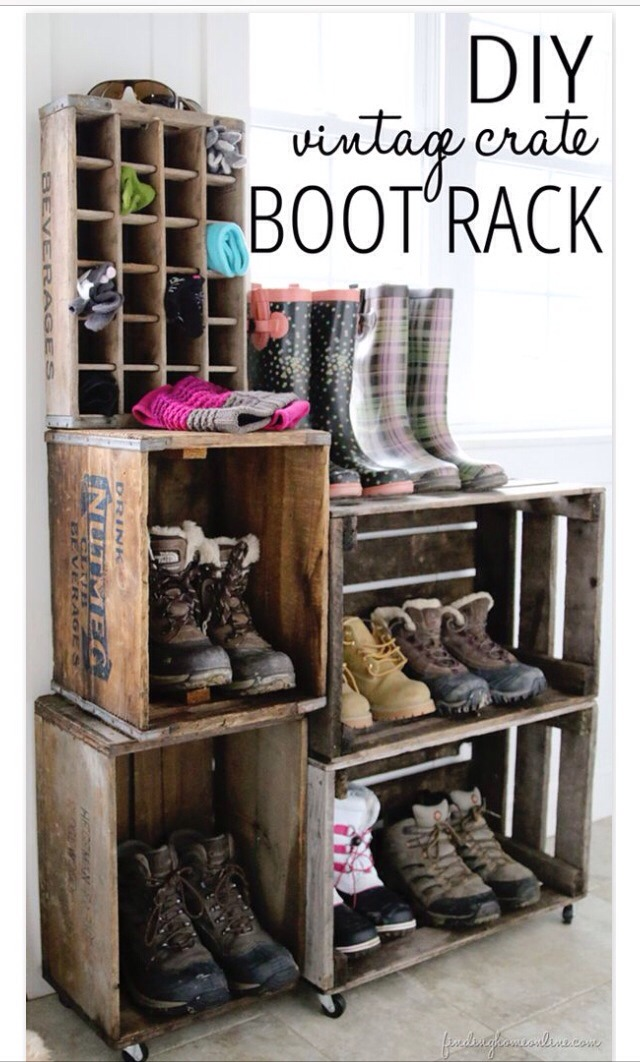 5.Repurpose vintage crates into boot racks
