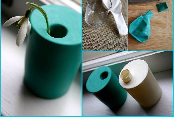 You can create a lovely vase for your flower using a simple glass and balloons. Choose the color you will want to use and cut the top of the balloon (that part where you blow). Then cover the entire glass with the balloon letting the hole facing the top. It´s done! A nice small vase.