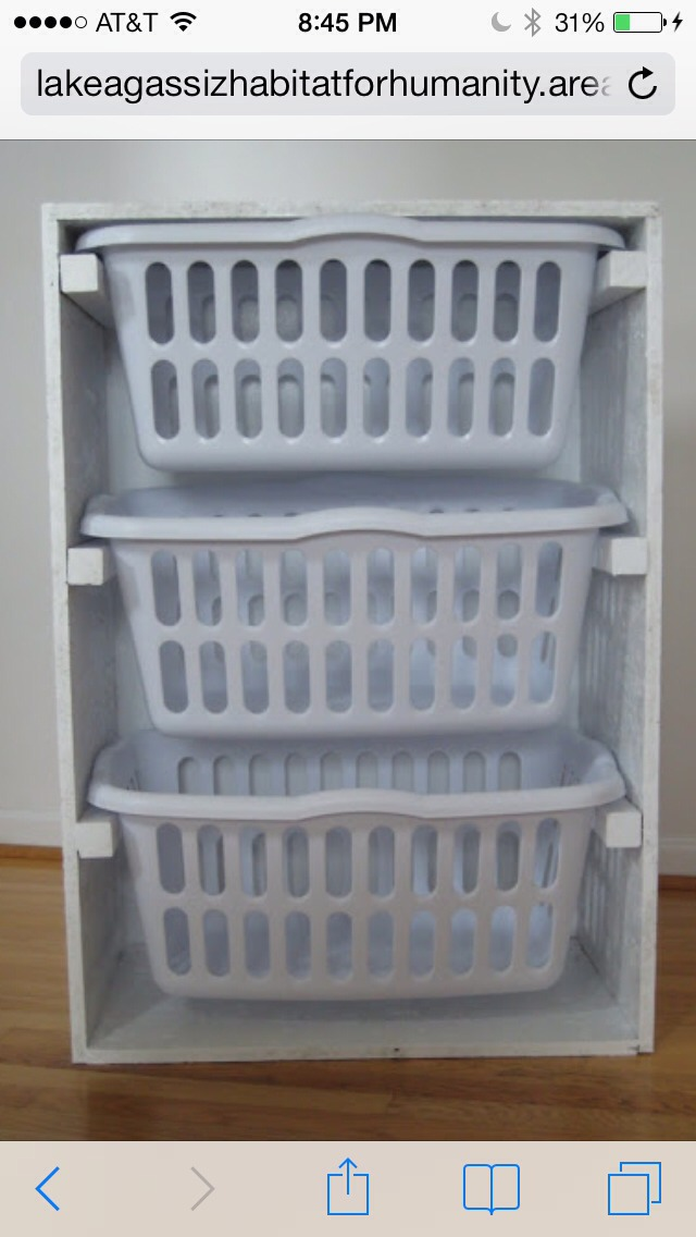 Pick up an old dresser and a few laundry baskets. You easily just created storage space!