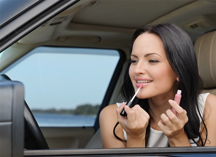 DOUBLE CHECK Before you head out for the day, double check your makeup in the car. The car offers great natural light so you can make sure everything looks great!