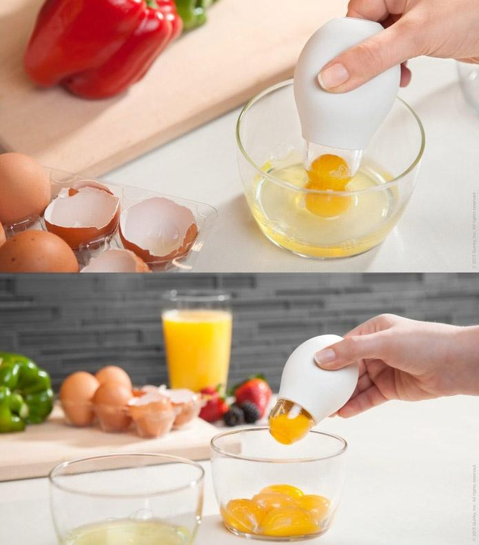 Quirky Egg Separator  Link: http://homegadgetsdaily.com/brilliant-idea-separates-yolk-from-the-white/