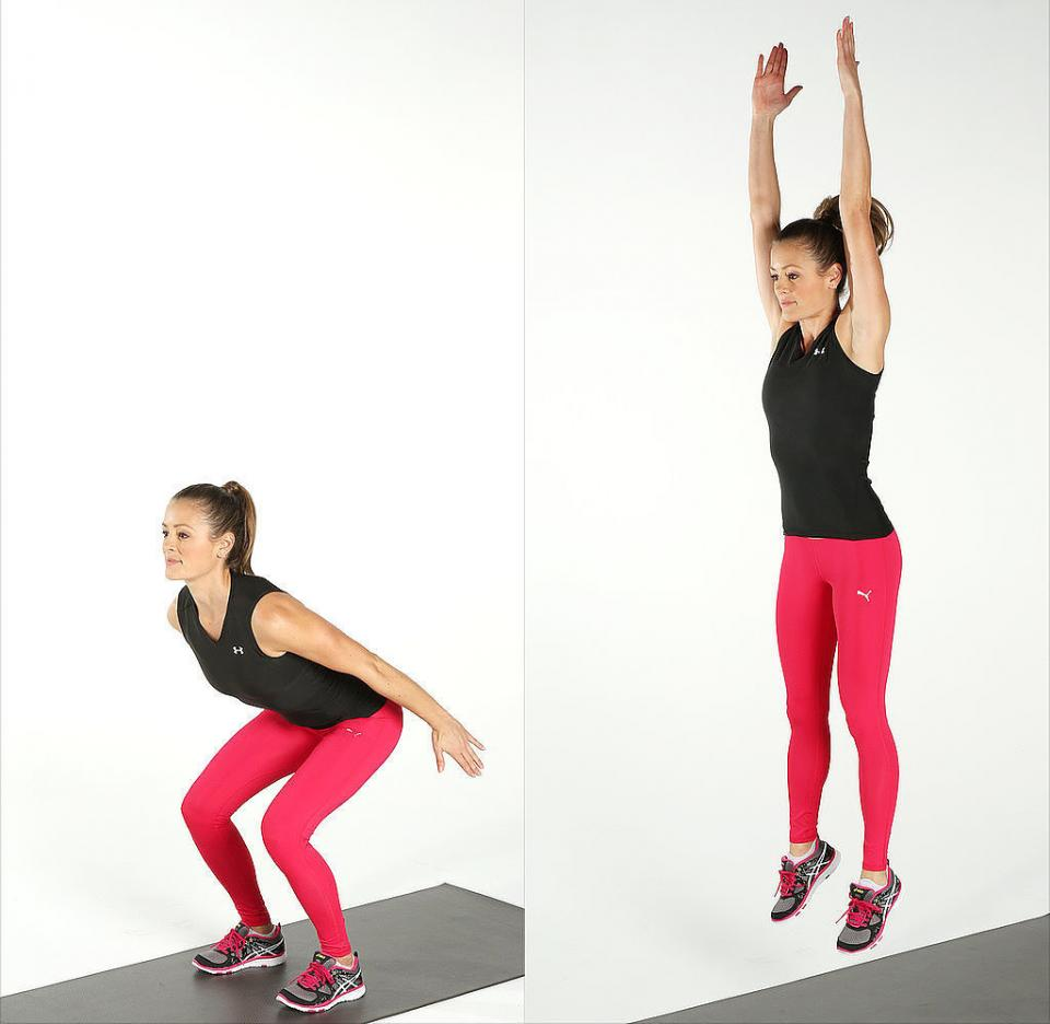 Jump squat: Start by doing a regular squat, then engage your core and jump up explosively. When you land, lower your body back into the squat position to complete one rep. Land as quietly as possible, which requires control