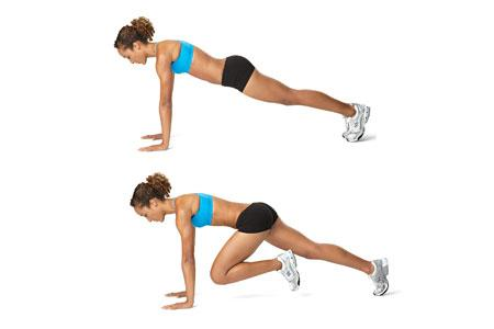 Mountain Hiker: This is like a spiderman push up without the push up part. After each move has been done once on each side, jump or tuck your knees back in and stand up, returning to the start position.