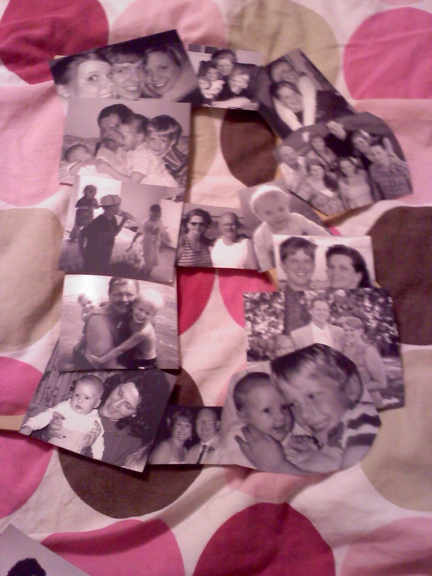 Step one; choose your pictures and lay them out in the shape for your letter