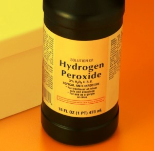 1st Pour hydrogen peroxide (amount depends on how big blood stain is) over blood stain and letting sit for 2 seconds.