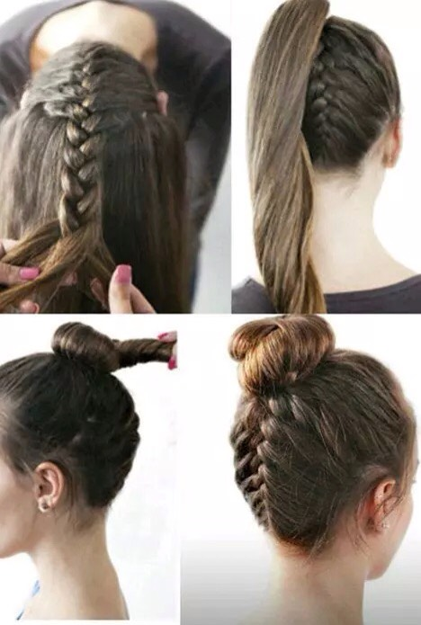 for this style you'll want to flip your head upside down and make a simple french braid (as shown in the picture, for this you just do a braid and add a small section of hair each time you cross a section over the middle) or do a Dutch braid (for which you cross the side sections under the middle)