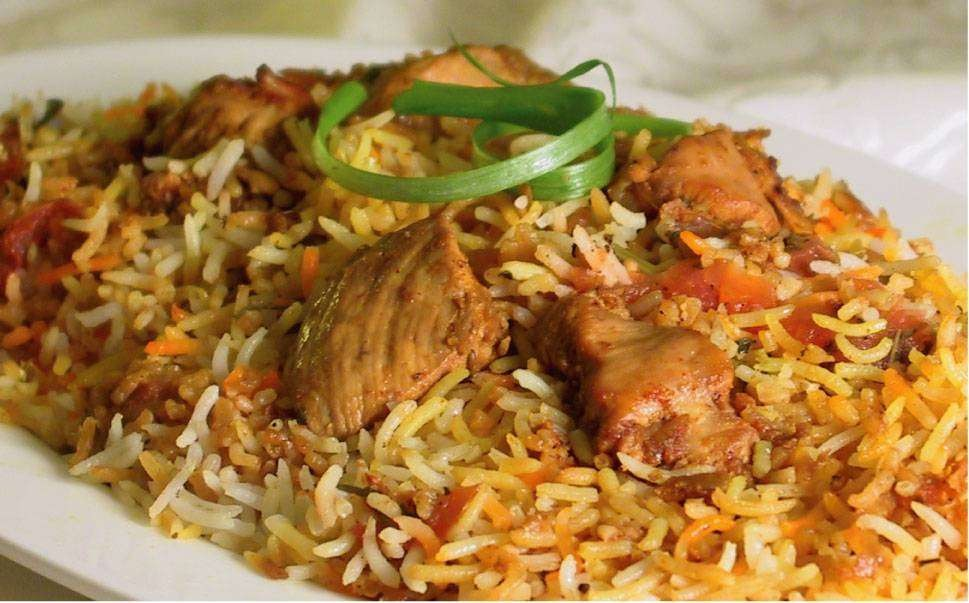 Hyderabadi mutton biryani or kachche gosht ki biryani is a traditional style of making the biryani by cooking the raw meat with spices for couple of minutes and then covered with rice and kept on dum until done.