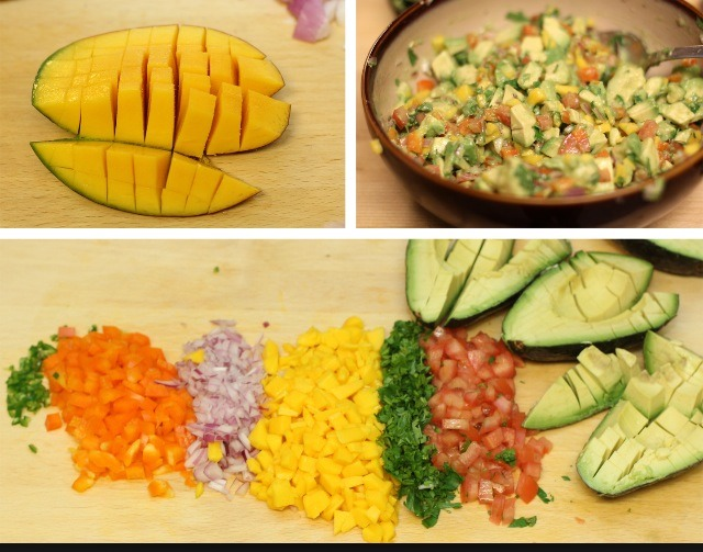 Full batch: 3 Big avocados  1 cup of chopped cilantro  1/2 cup of dices onions 1/4 cup of diced jalapeños  1 table spoon of kosher salt (table)  1/3 cup of fresh lime juice  Optional 1 diced tomato 1 diced Mango  - prep- Smash the avocado, add the lime citrus and salt. ---next page---
