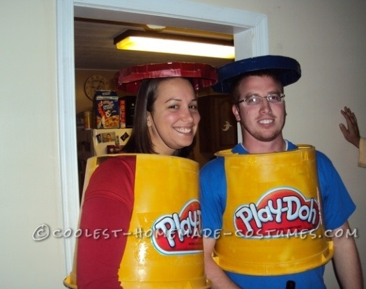 Play-doh costume! Instructions here - http://ideas.coolest-homemade-costumes.com/2012/08/28/cheap-simple-playdoh-couple-costume/