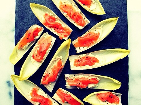 --> Directions; -> Cut about 1/2 inch off the bottom of an endive spear. Start pulling off individual leaves until you get to the small leaves -> Spread each leaf with about 1 tsp of Boursin cheese -> Top it with smoked salmon -> Sprinkle pepper on top  -> Enjoy