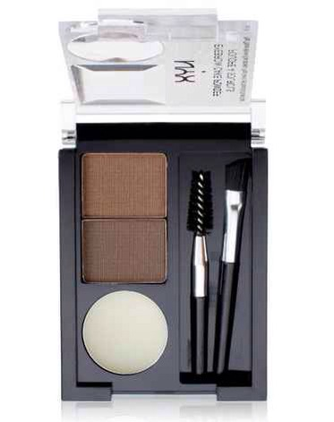15. NYX Eyebrow Cake Powder:  Everything you need for perfectly set brows: two brushes (angled and spoolie), clear wax, and coordinating brow powders.