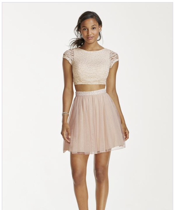 http://www.davidsbridal.com/Product_two-piece-lace-crop-top-with-short-mesh-skirt-x90021hvs_prom-prom-dresses