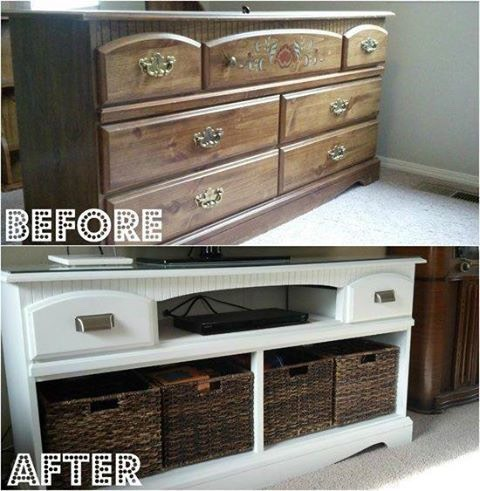 I love this dresser turned entertainment system idea.  It doesn't even look like the same piece of furniture!