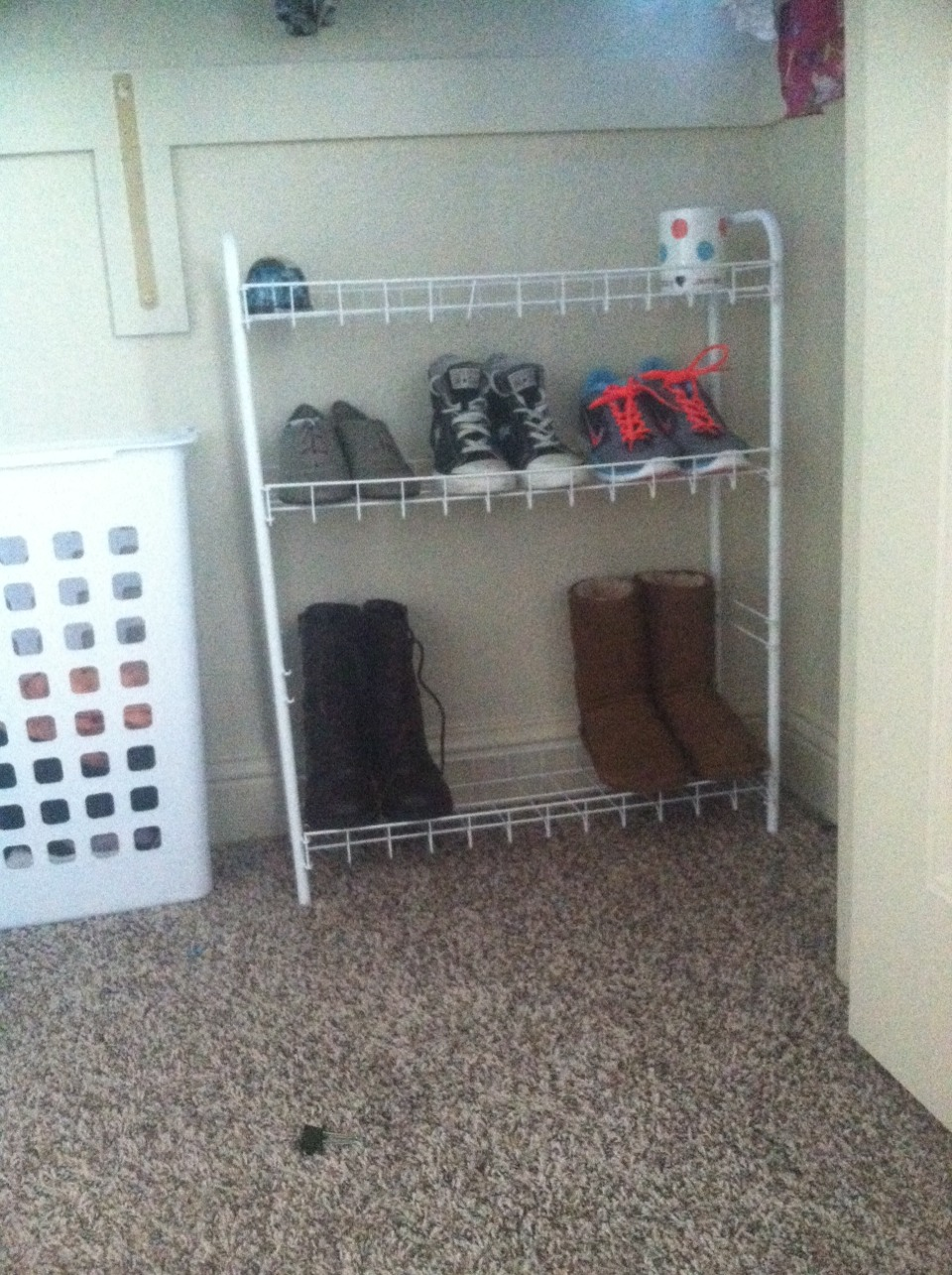 Use shoe racks so you can see your floor.