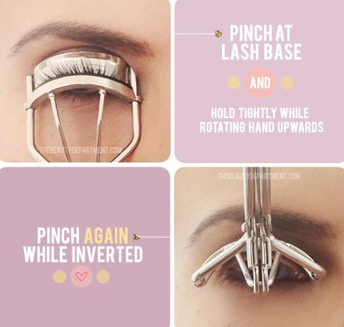13. Lash Curling Secret Get the most out of your lash curler by pinching at the very base of  your lashes, and then lifting the curler up into an inverted position. This creates double the curl and lasts much longer!