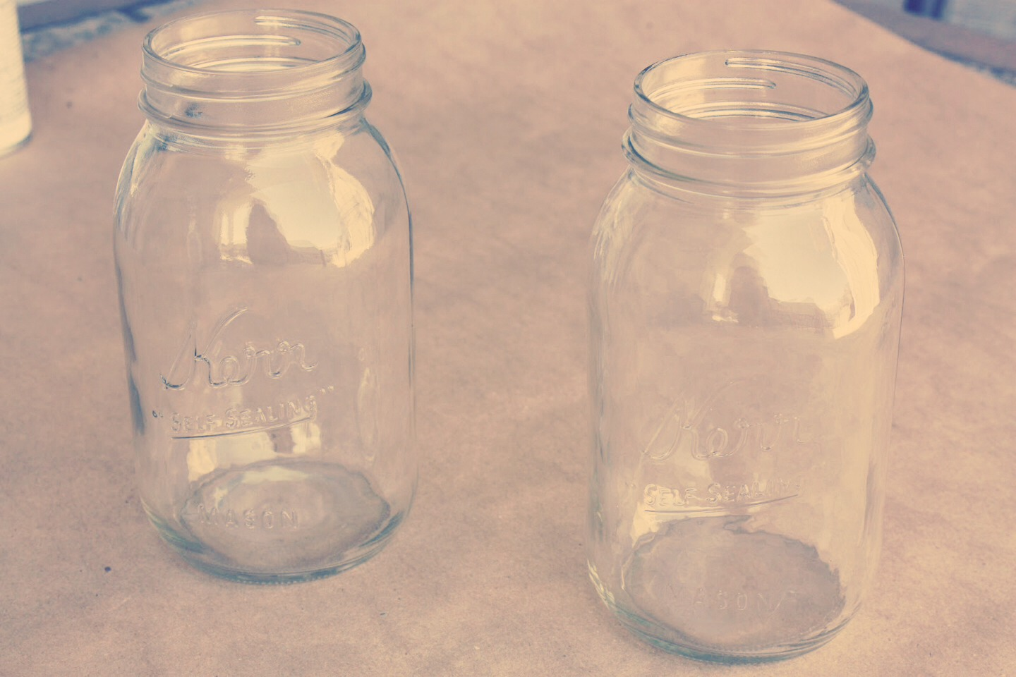 Get an empty jar and remove the sticky residue left from stickers with rubbing alcohol or nail polish remover(^~^)