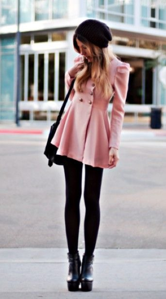 Simple but stylish. Cream or pink coat, Black leggings or jeans and some ankle boots. 💛