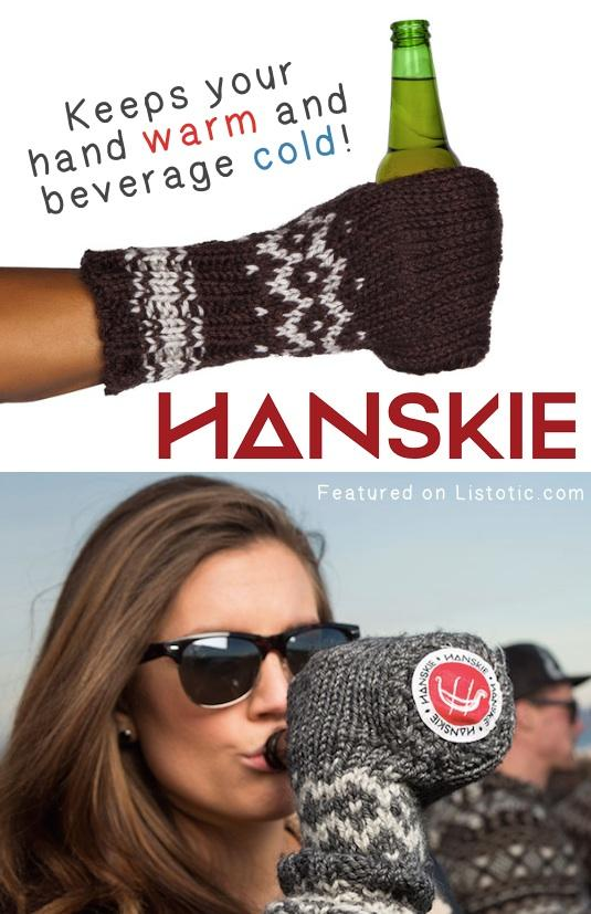 2. Beer Koozie Gloves  These beer gloves are a must for football or baseball games! Now you can drink your beer in style while keeping your hand toasty warm and your beer ice cold.