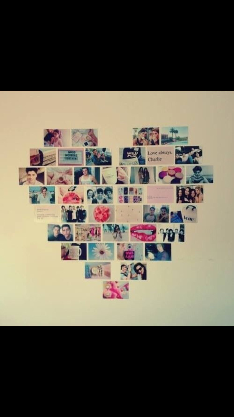 Another way to put up all those photos you have of you and all your friends and family. Set it up in a heart shape