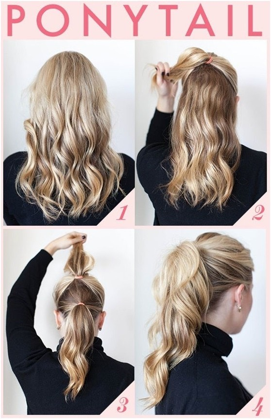 Seem hard? Not at all! All you have to do is bring the top half of your hair up into a high ponytail on the top of your head. Then, all you have to do is simply put the rest of your hair into a ponytail at the base of your neck. Use the hair on the top ponytail to cover the elastic of the bottom.
