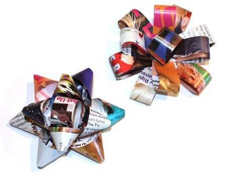 Bow decoration. Tutorial: http://www.wholeliving.com/133668/read-wrap-recycle-make-bows-magazines