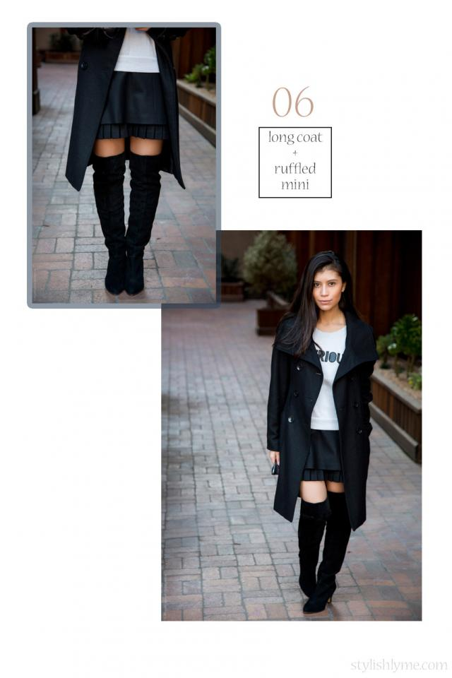 Pleated mini skirt and a long overcoat with a pair of thigh high boots With the right clothing combination, fall outfits can be sexy. I took a fun approach with these black suede thigh high boots and worn them with a black pleated mini skirt and long overcoat.