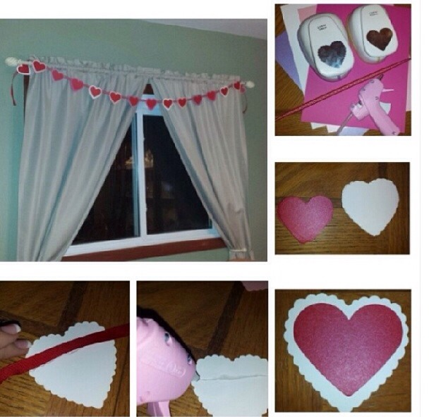 So easy all you need is construction appear hot glue a punch (or ✂️) and ribbon. punch or cut out the heart then   Hot glue a line on the back and place on the ribbon. Repeat and let dry. Then use to decorate where ever you want!