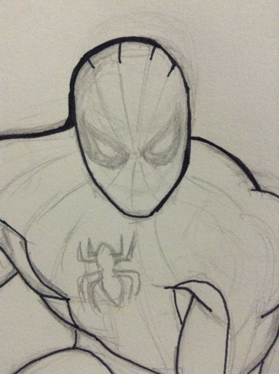 Sketch the face in greater detail-for easier outline. Detail the logo as well.