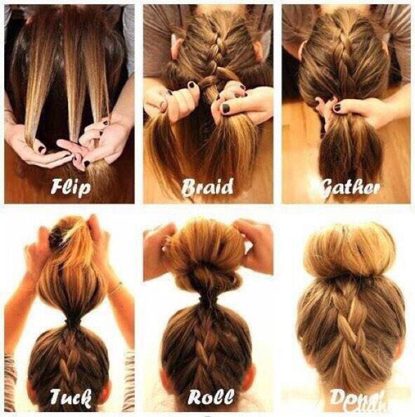 1) Flip you head upside-down 2) French braid until you have reached the crown of your head 3) Tie it and put the rest into a bun