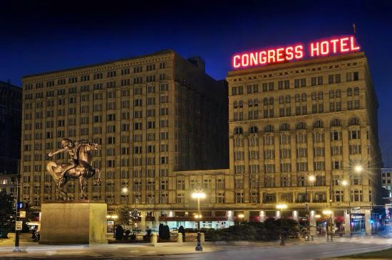 13.) Congress Plaza Hotel, Illinois  In operation for well over 100 years, this hotel has become very well-known for its paranormal qualities. Guests and employees have reported everything from apparitions and voices to the presence of a room so horrible that it's been boarded over