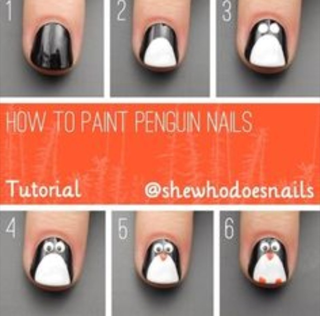 Penguin nails Also perfect for the holidays!