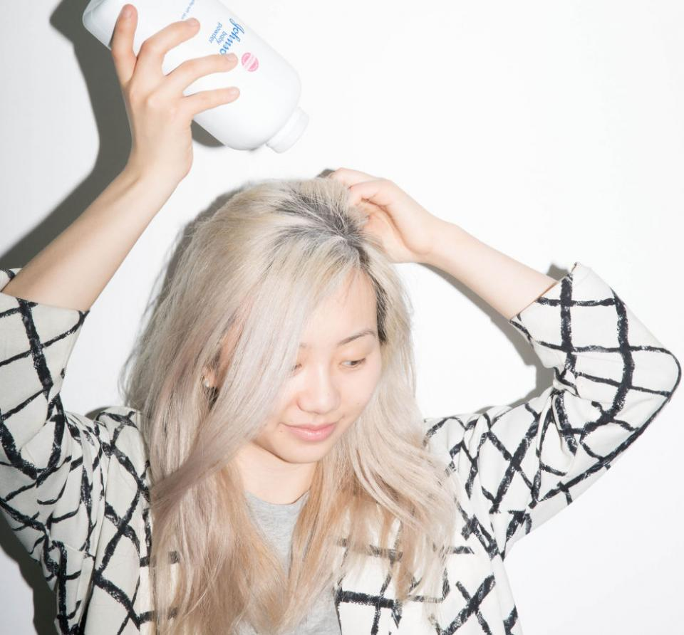14. If your hair's too dirty for words but there's absolutely no chance you're waking up early enough for a wash, apply baby powder liberally to your roots before bed.