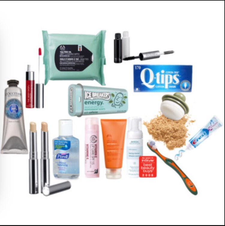 Make up wipes, hand sanitiser, and the following items in this picture are a must.