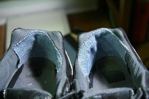 16. Repair torn and ragged heel linings with denim.: Attach patches with glue, or sew them in for extra hold.