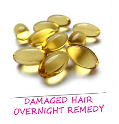 Damaged hair:Mix few drops of vitamin E oil with a tbsp of jojoba oil. Simply massage the repair cure into your hair and allow it to work overnight. Shampoo and condition as usual the next morning.